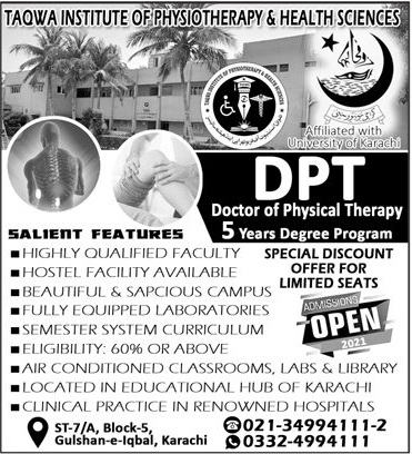 Taqwa Institute Of Physiotherapy & Health Sciences Karachi Admissions