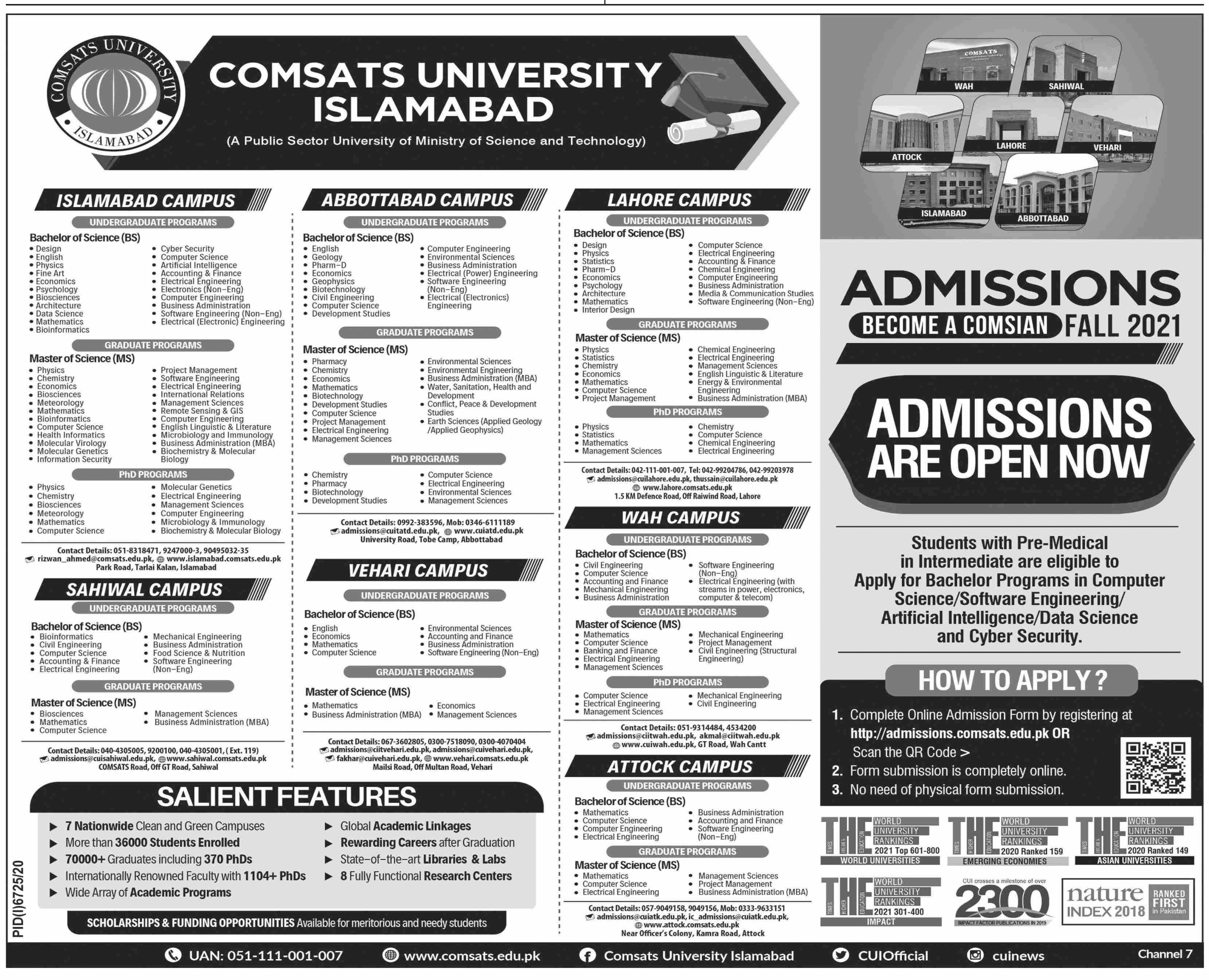 Comsats University Islamabad Admissions
