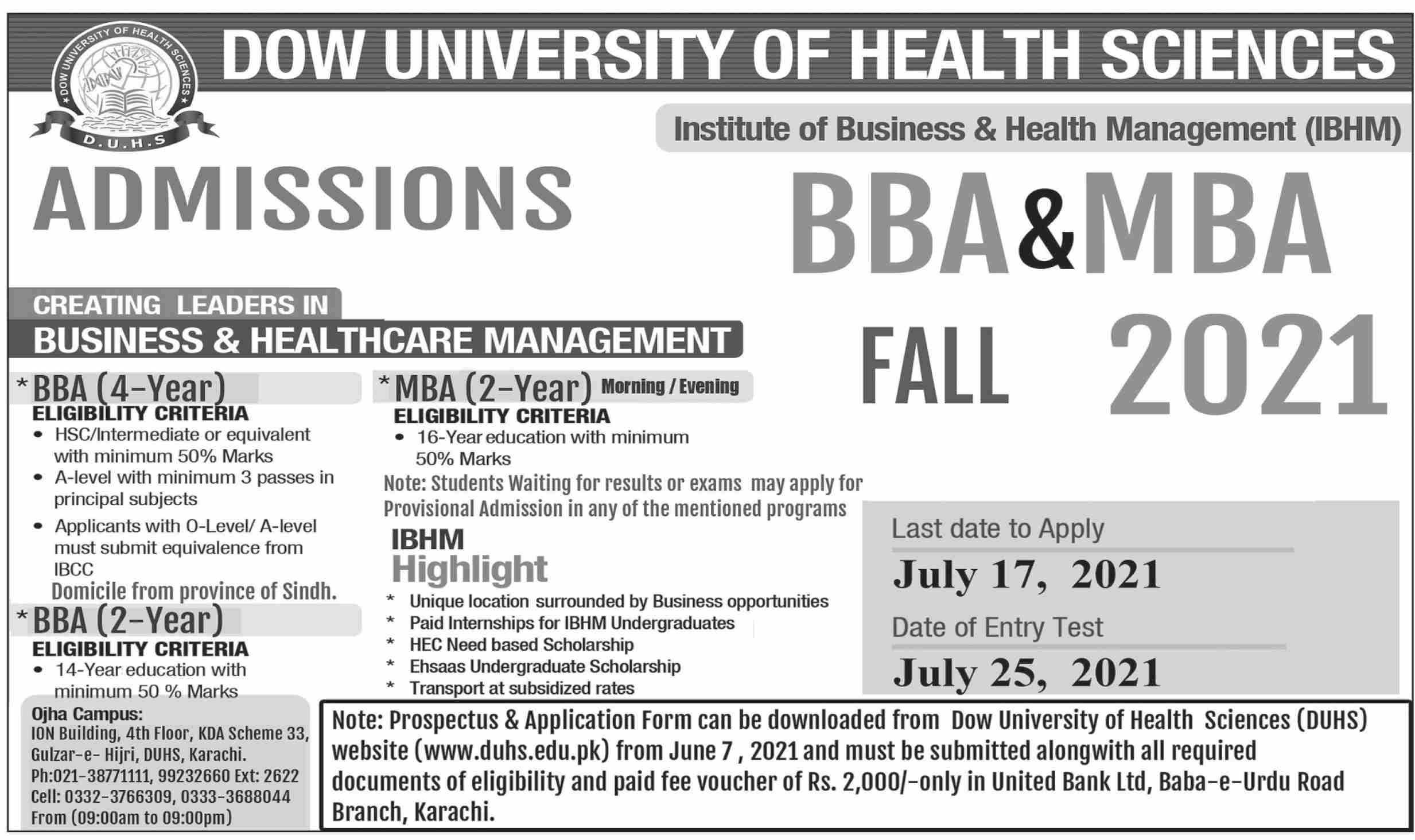 Dow University Of Health Sciences Karachi Admissions(02)
