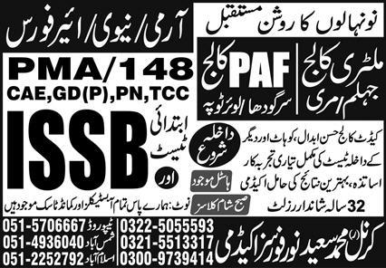Forces Academy Islamabad Admissions