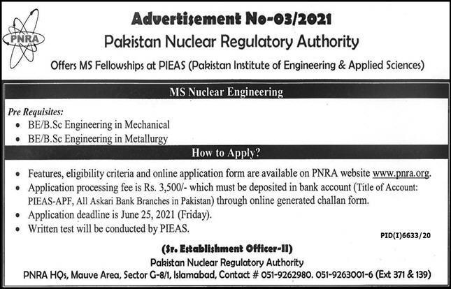 Pakistan Nuclear Regulatory Authority Islamabad Admissions