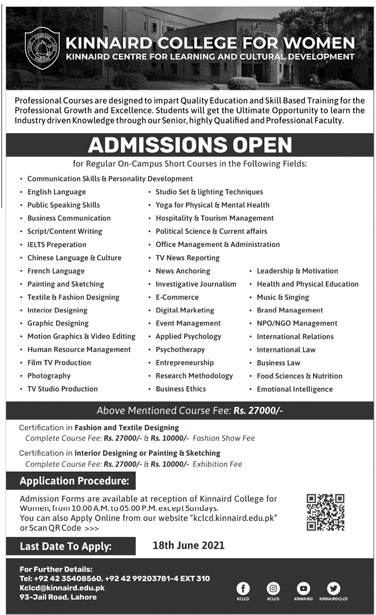 Kinnaird College For Women Lahore Admissions
