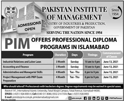Pim Islamabad Admissions
