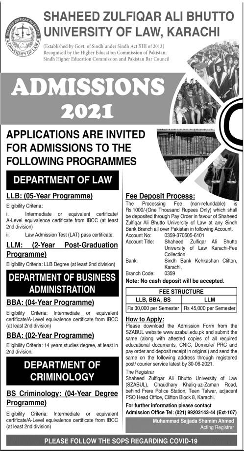 Shaheed Zulfiqar Ali Bhutto University Of Law Karachi Admissions
