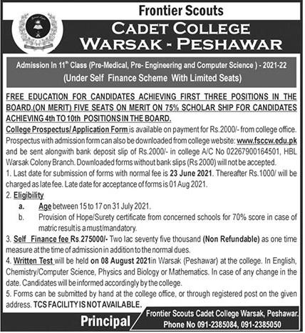 Cadet College Peshawar Admissions