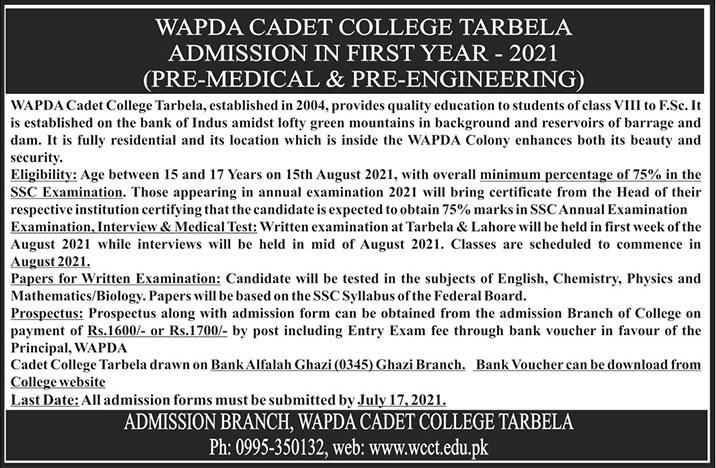 Cadet College Tarbela Admissions