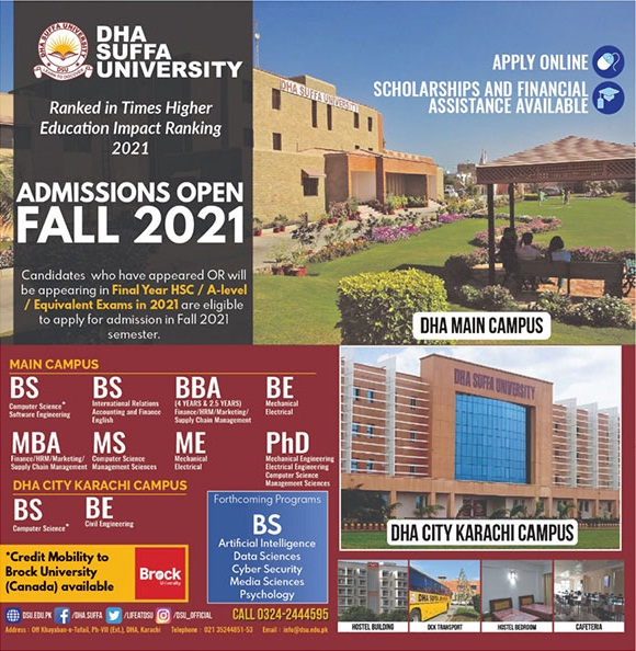 Dha Suffa University Karachi Admissions