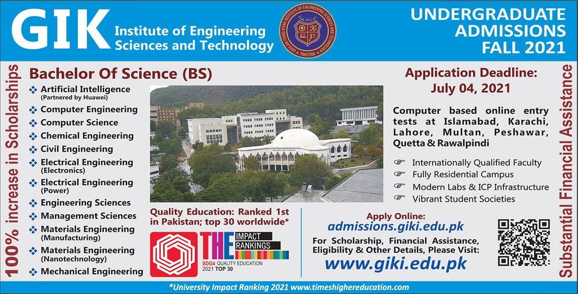 Ghulam Ishaq Khan Institute Of Engineering Sciences & Technology Swabi Admissions