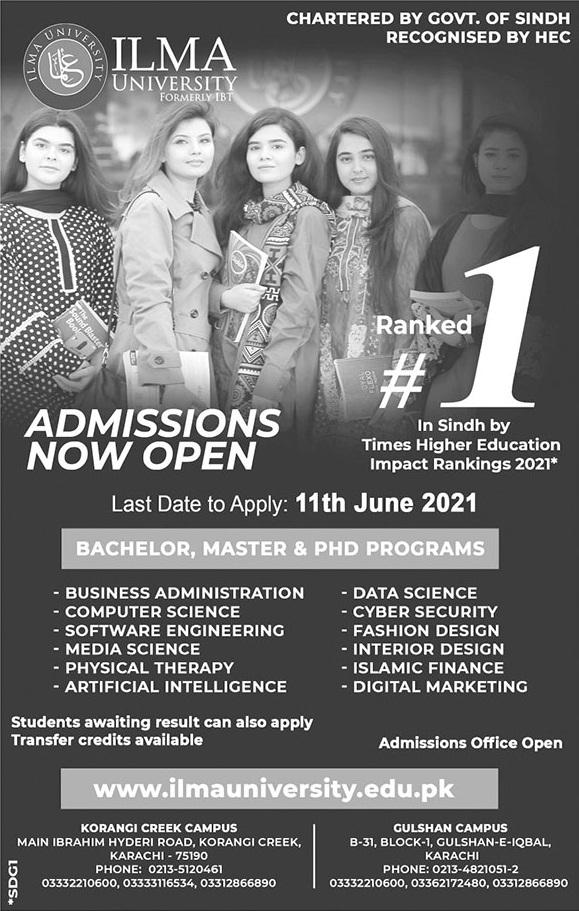 Ilma University Karachi Admissions