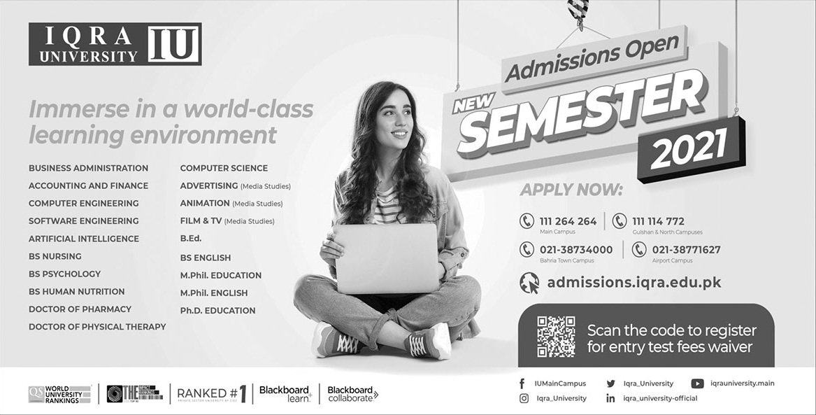 Iqra University Karachi Admissions