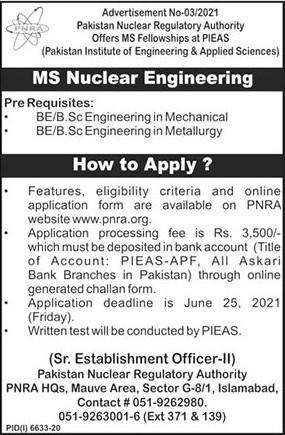 Pakistan Nuclear Regulatory Authority Admissions