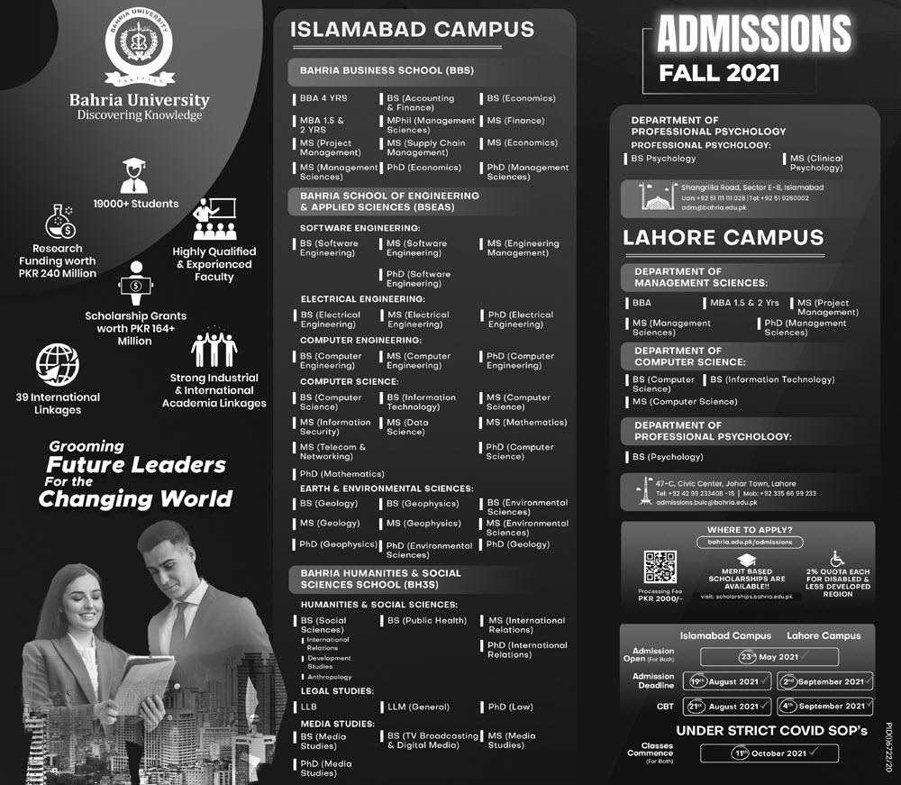 Bahria University Islamabad Admissions