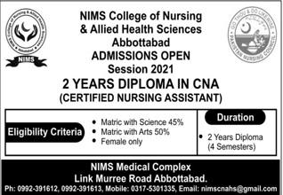 Nims College Of Nursing & Allied Health Sciences Abbottabad Admissions
