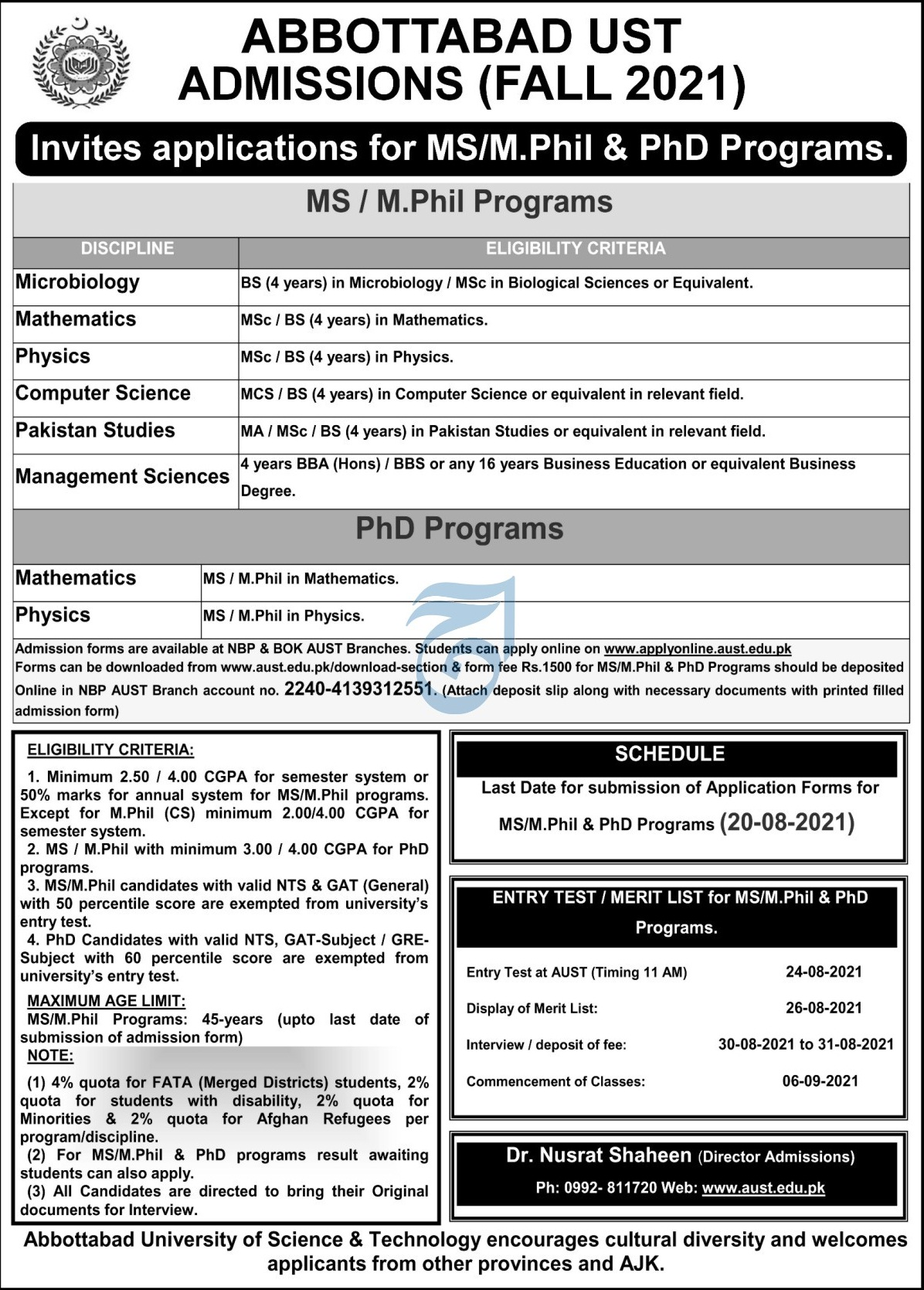 Abbottabad University Of Science & Technology Abbottabad Admissions