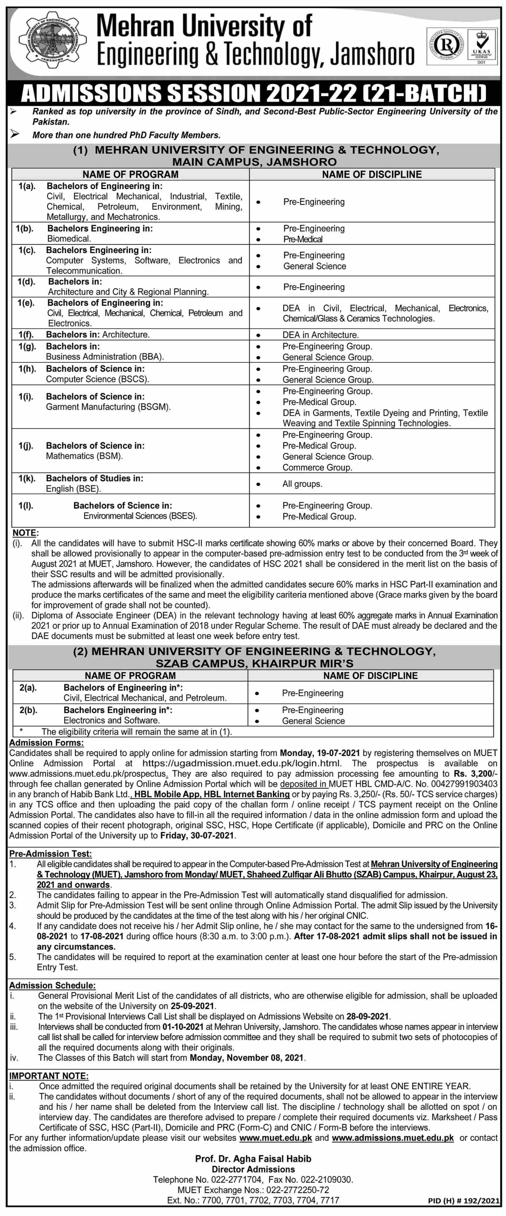 Mehran University Of Engineering & Technology Jamshoro Admissions