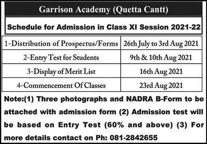 Garrison Academy Quetta Admissions