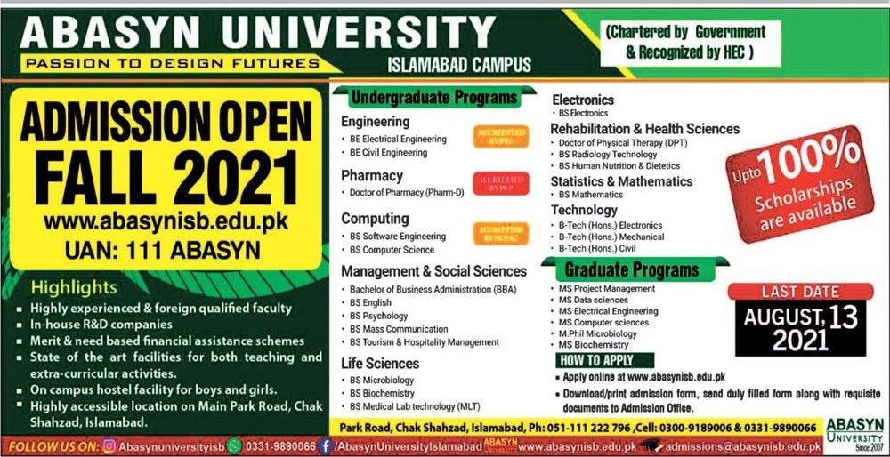 Abasyun University Islamabad Admissions