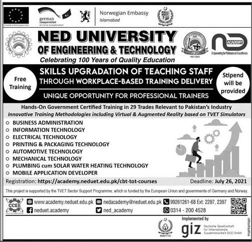 Ned University Of Engineering & Technology Karachi Admissions