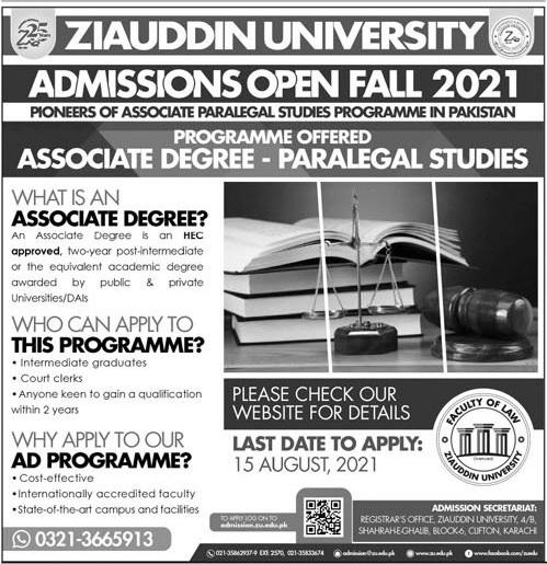 Ziauddin University Karachi Admissions