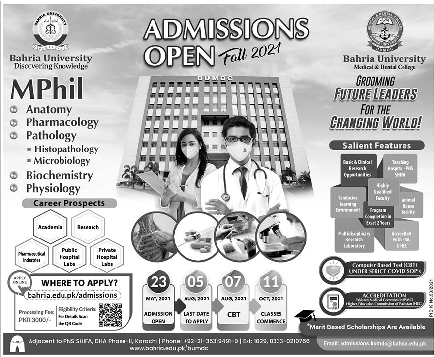 Bahria University Karachi Admissions