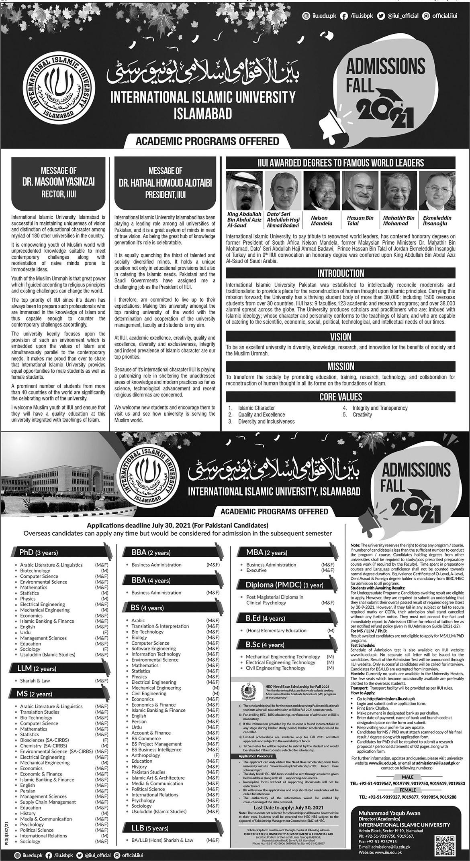 International Islamic University Islamabad Admissions