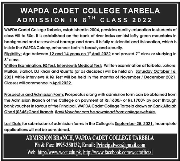 Wapda Cadet College Tarbela Admissions