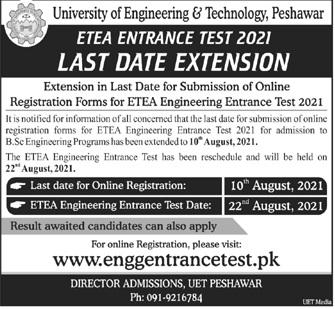 University Of Engineering & Technology Peshawar Admissions