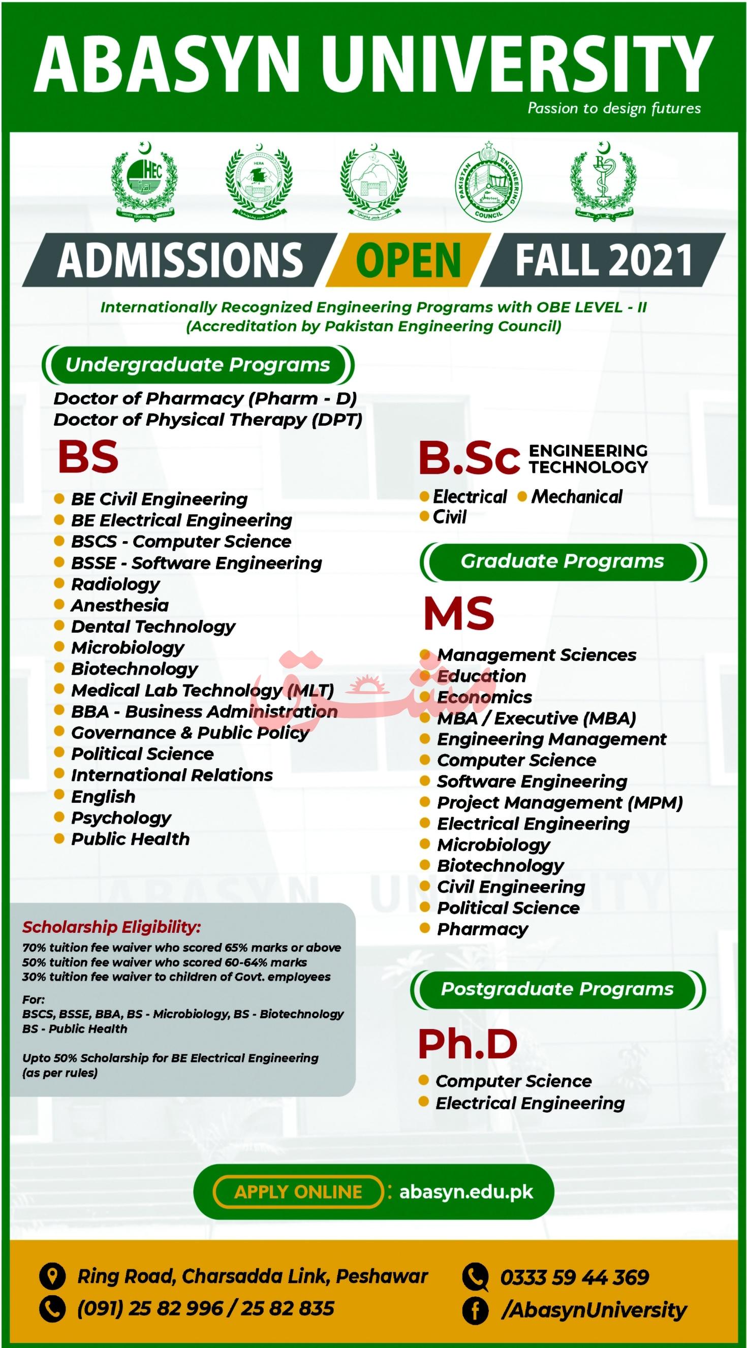 Abasyn University Peshawar Admissions