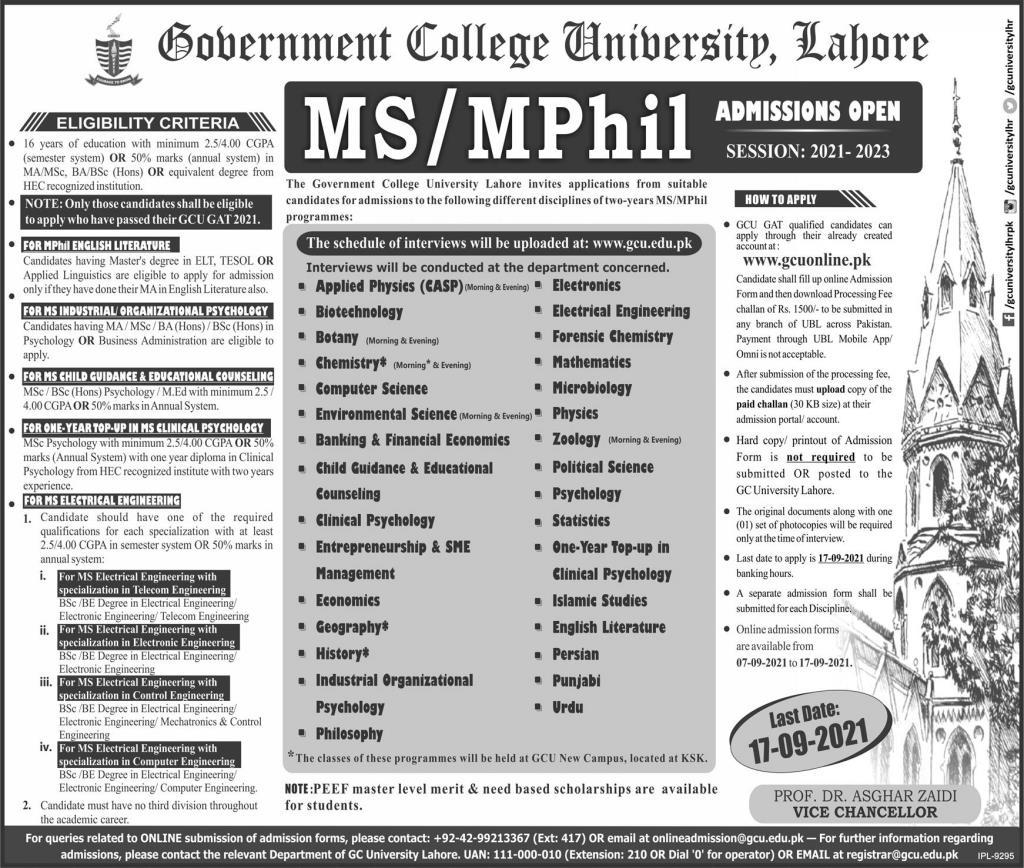Gc University Lahore Admissions