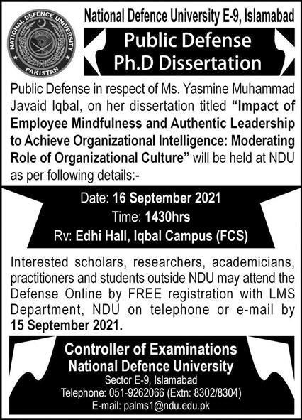 Ndu Islamabad Admissions