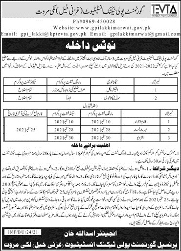 Government Polytechnic Institute Lakki Marwat Admissions