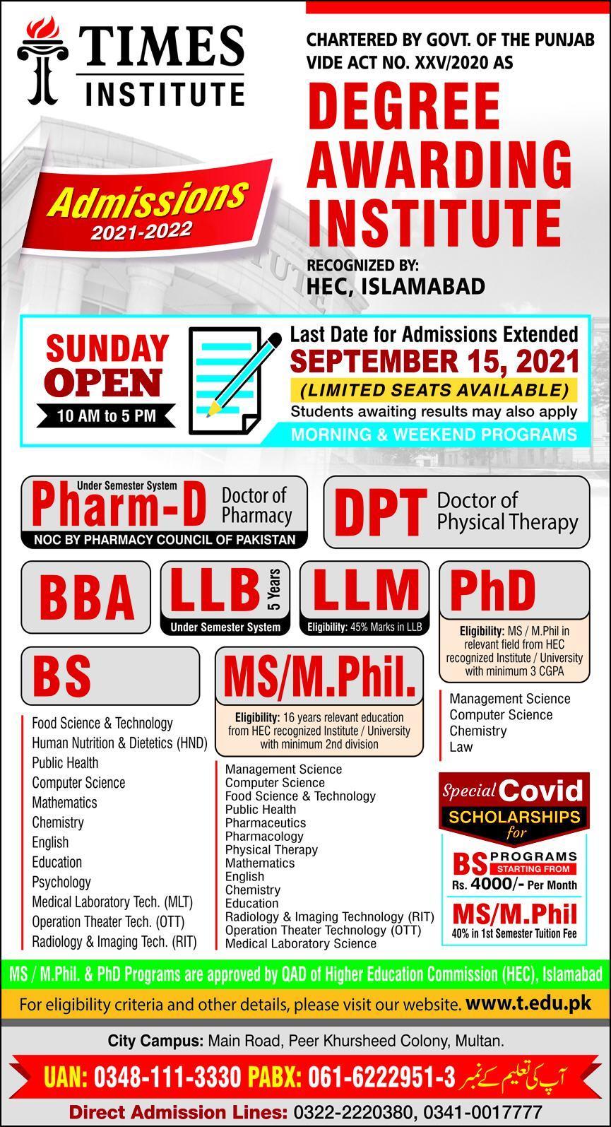 Times Institute Multan Admissions