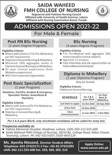Saida Waheed Fmh College Of Nursing Lahore Admissions