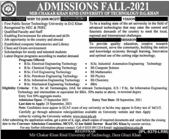 Mir Chakar Khan Rind University Of Technology D.g.khan Admissions