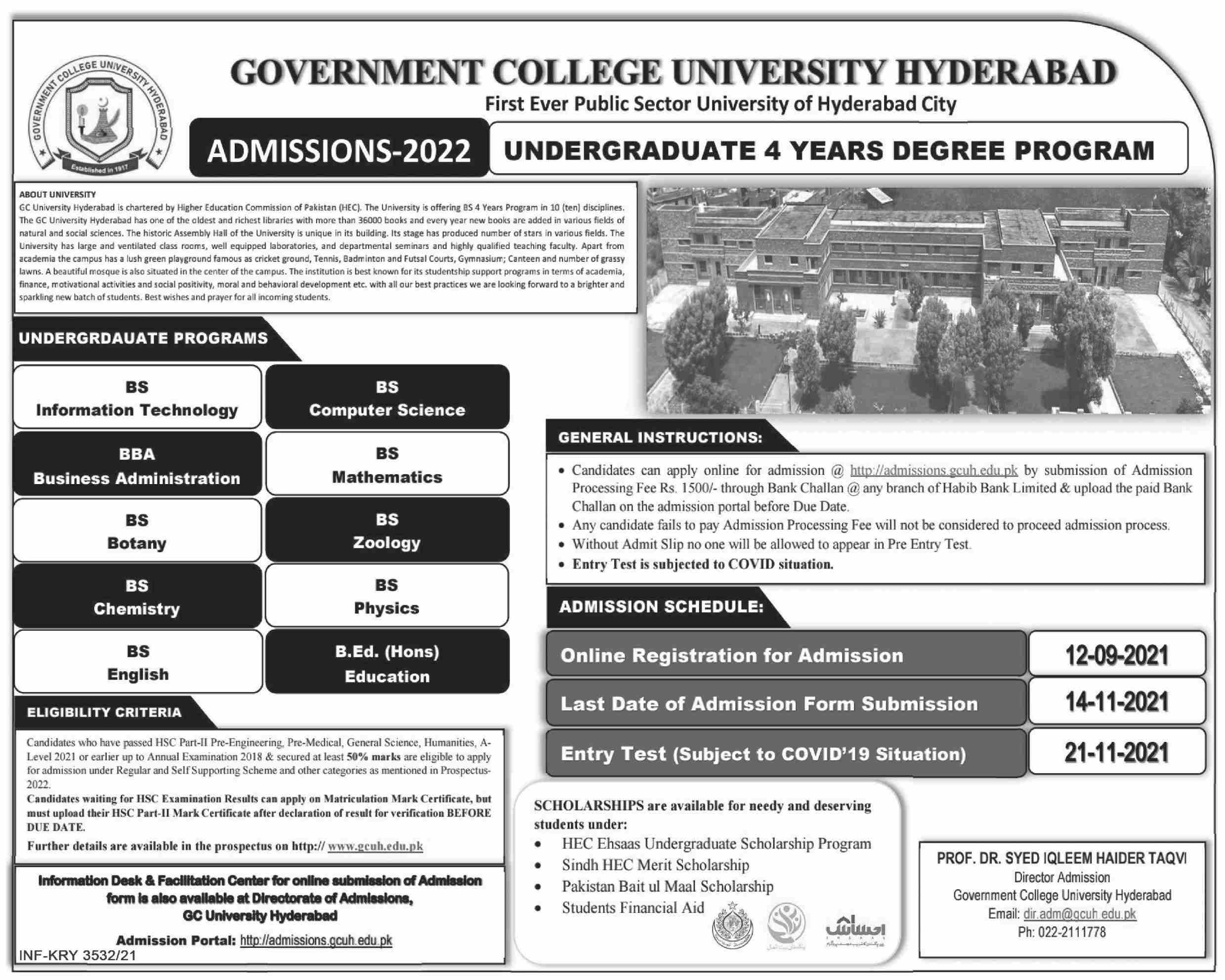 Government College University Hyderabad Admissions