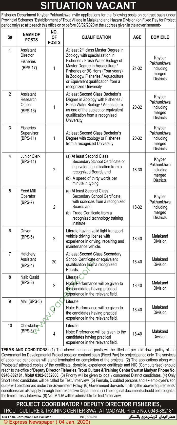 Fisheries Department jobs newspaper ad for Hatchery Assistant in Swat