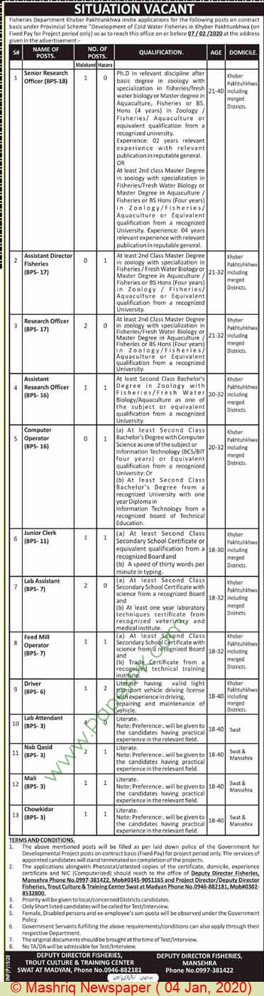 Fisheries Department jobs newspaper ad for Senior Research Officer in Swat