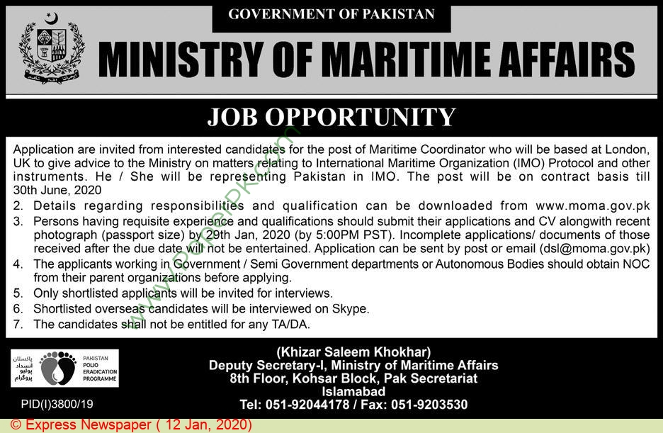 Ministry Of Maritime Affairs jobs newspaper ad for Maritime Coordinator in Islamabad