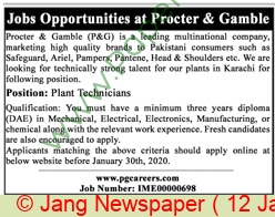 Procter & Gamble Pakistan jobs newspaper ad for Plant Technician in Karachi