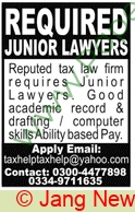 Law Firm jobs newspaper ad for Junior Lawyer in Lahore