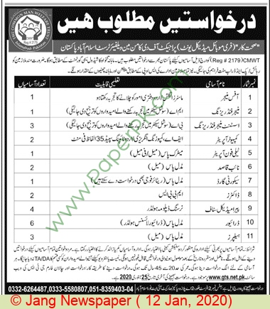 The Common Man Welfare Trust jobs newspaper ad for Assistant Manager Fundraising in Islamabad