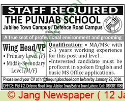 The Punjab School jobs newspaper ad for Wing Head in Lahore