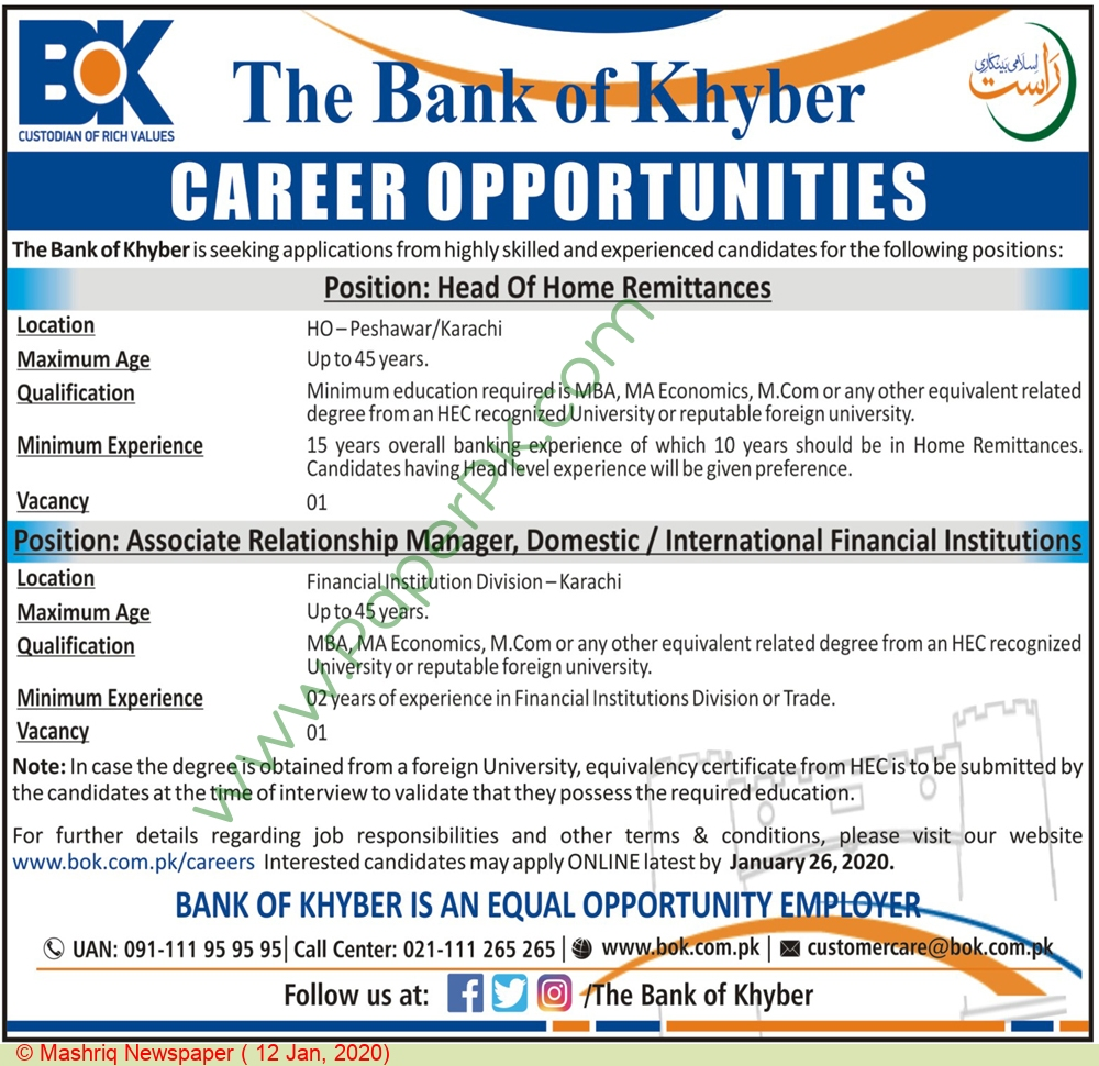 The Bank Of Khyber jobs newspaper ad for Head Of Home Remittances in Peshawar