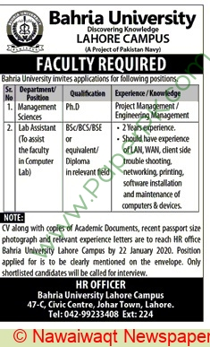 Bahria University jobs newspaper ad for Faculty Staff in Lahore