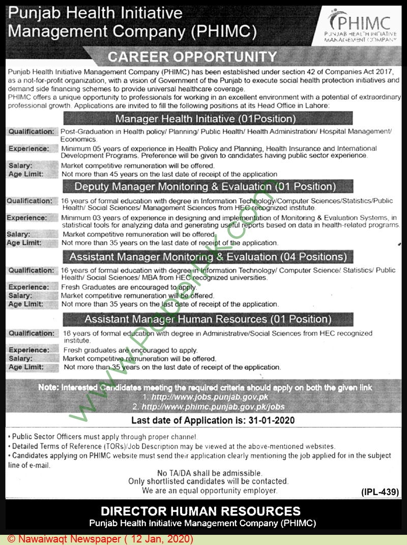 Punjab Health Initiative Management Company jobs newspaper ad for Deputy Manager in Lahore