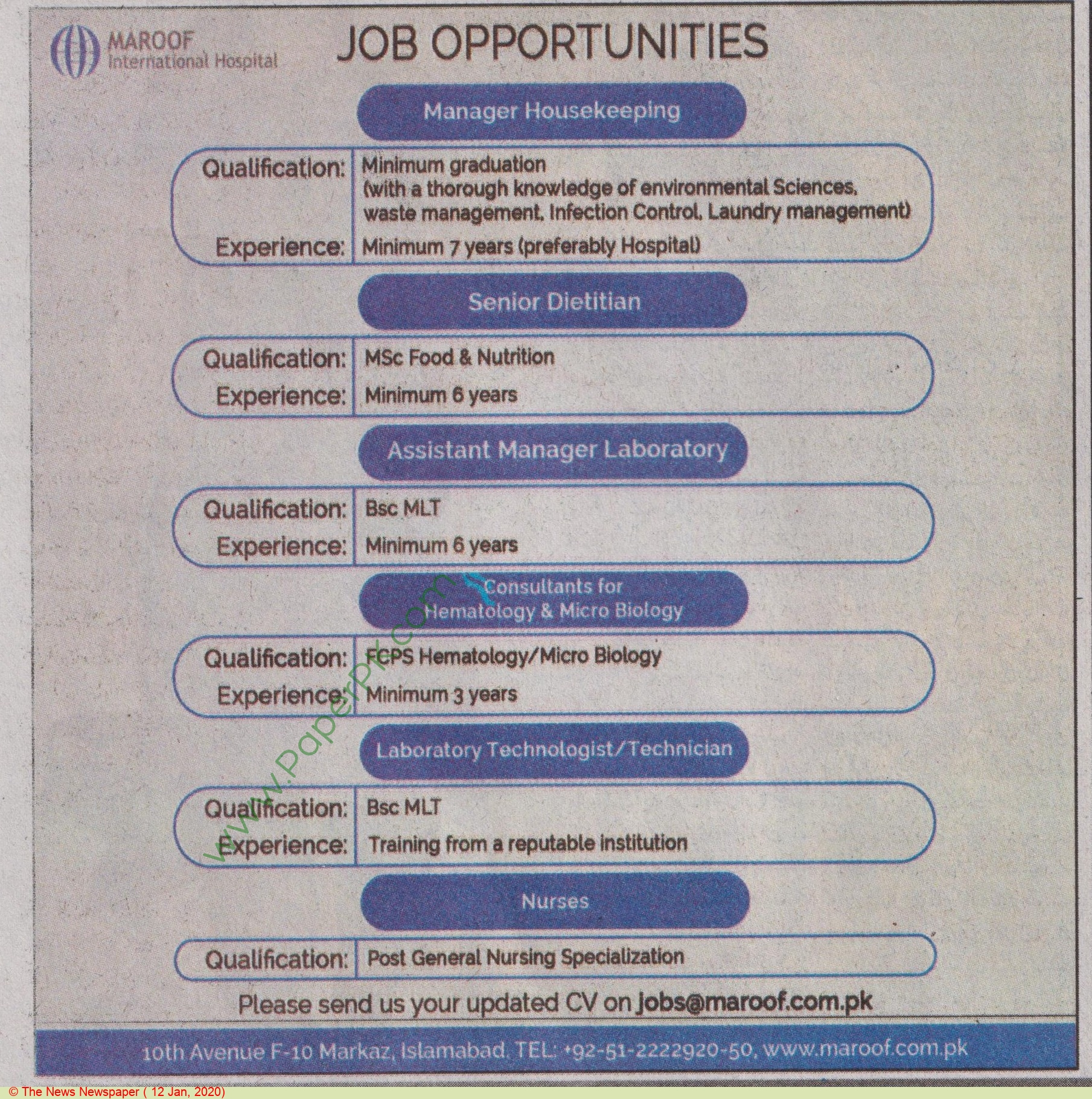 Maroof International Hospital jobs newspaper ad for Manager Housekeeping in Islamabad