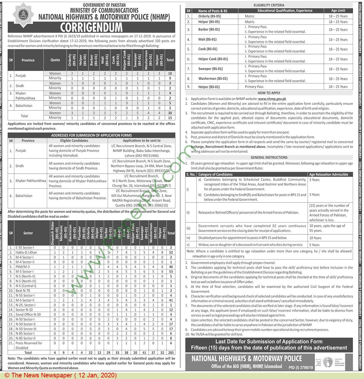 National Highways & Motorway Police jobs newspaper ad for Helper in Islamabad