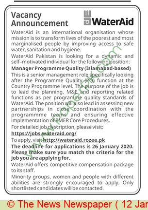 Wateraid jobs newspaper ad for Manager Programme Quality in Islamabad