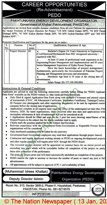 Pakhtunkhwa Energy Development Organization jobs newspaper ad for Project Director in Peshawar