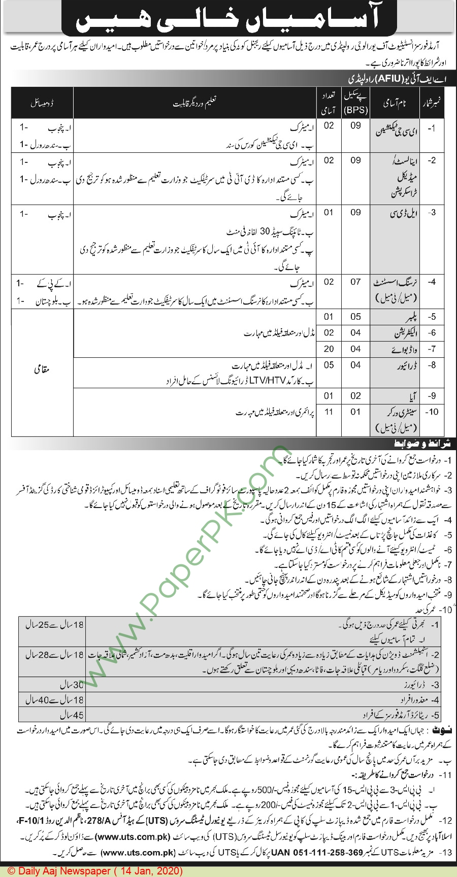 Armed Forces Institute Of Urology jobs newspaper ad for Ecg Technician in Rawalpindi